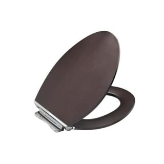 Kohler K-4761-BN Avantis Elongated Closed-Front Toilet Seat with Quiet-Close Technology and Vibrant Brushed Nickel Quick-Release