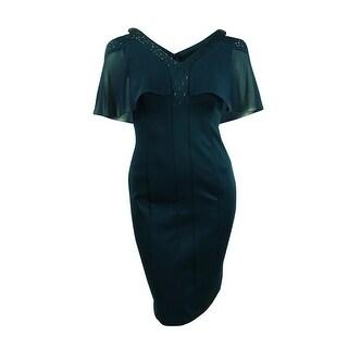 SL Fashions Women's Cold-Shoulder Embellished Sheath Dress - mid teal