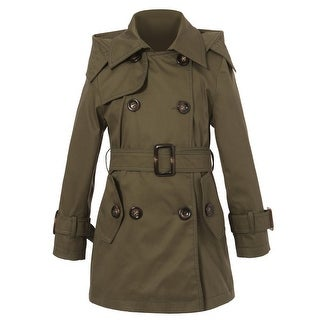 Richie House Girls Classic Olive Hooded Double Breasted Trench Coat 7-12