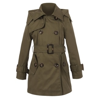 Richie House Little Girls Classic Olive Hooded Double Breasted Trench Coat 4-6