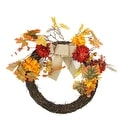 """20"""" Autumn Harvest Artificial Mixed Fall Leaf and Mum Flower Thanksgiving Twig Wreath - Unlit - Thumbnail 0"""