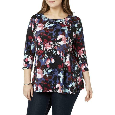 NY Collection Women's Blue Size 1X Plus Floral Print Embellished Blouse