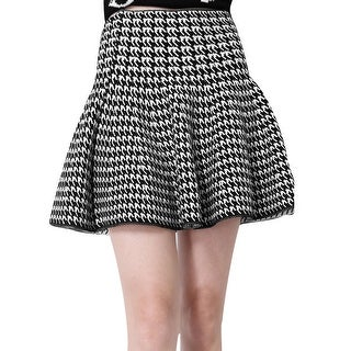 Women Zip Closure Houndstooth Pattern Ruffled Hem Autumn Wearing Skirt - black,white - M
