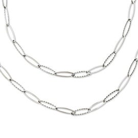 Chisel Stainless Steel Oval Links 28 inch Layered Necklace (6 mm) - 28 in