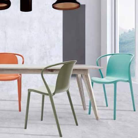 (Set of 2) Emma Stackable Modern Minimalist Indoor Outdoor Patio Dining Chair