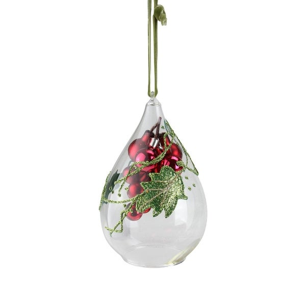 """6"""" Red Grape Cluster in Teardrop Cloche Christmas Ornament"""