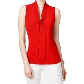 Michael Kors NEW Red Blaze Womens Size 6 Tie-Neck Textured Blouse