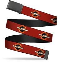 Blank Black Buckle Bazinga! Logo Burgundy Webbing Web Belt