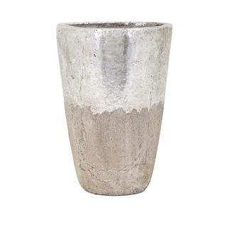 IMAX Home 41004  Tala Large Ceramic Vase - Silver