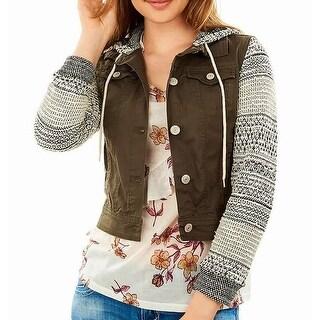WALLFLOWER Olive Women's Large Knit Hooded Jacket
