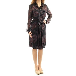Womens Navy Long Sleeve Knee Length Shirt Wear To Work Dress Size: 2