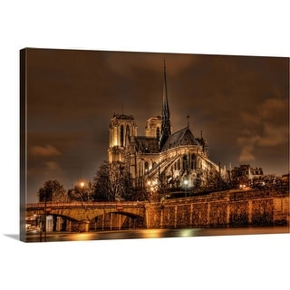 """""""Notre Dame Cathedral at night"""" Canvas Wall Art"""