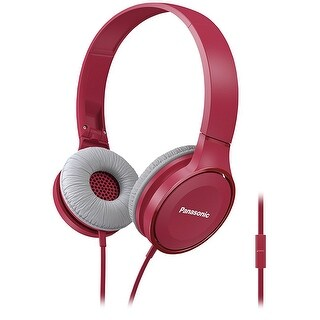Panasonic RP-HF100M Over-the-Ear Stereo Headphones with Microphone (Pink)