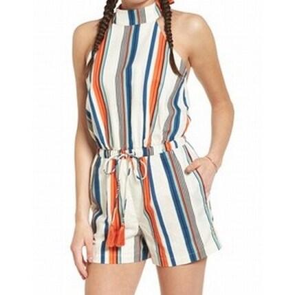 4194efb536b Shop Moon River NEW Orange Women s Size Medium M Striped Halter Romper -  Free Shipping On Orders Over  45 - Overstock - 20000056