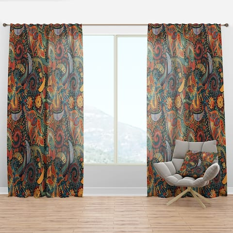 Designart 'Paisley Floral Pattern' Bohemian & Eclectic Curtain Panel