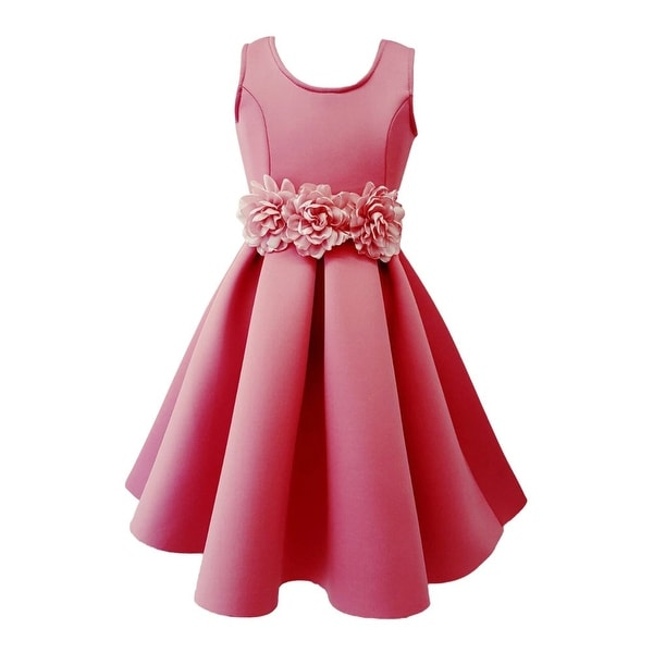 357d85a56ed Shop Little Girls Fuchsia Floral Belt Embellished Pleated Flower Girl Dress  - Free Shipping On Orders Over  45 - Overstock - 19864270
