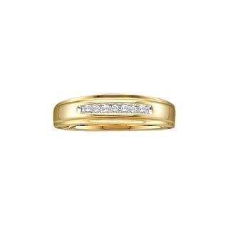 1/12Ctw Round Diamond Men'S Fashion Band Yellow-Gold 14K