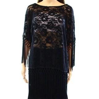 Rain NEW Black Women's Size XL Lace Fringe Trim Low Back Blouse