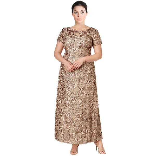 Shop Alex Evenings Plus Size A-Line Rosette Evening Gown Dress - 20W ...