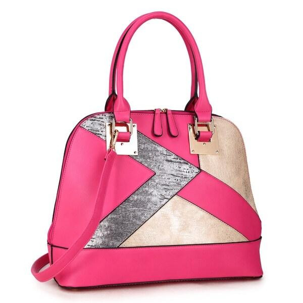 Shop Dasein Round Leather Satchel with Semi Metallic Patch Design in ... 751723d88ab57