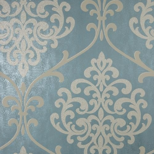 Brewster 2542-20715 Ambrosia Teal Glitter Damask Wallpaper