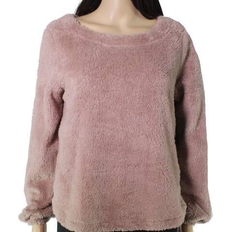 Bobeau Women's Sweater Mauve Pink Size Large L Pullover Faux Fur