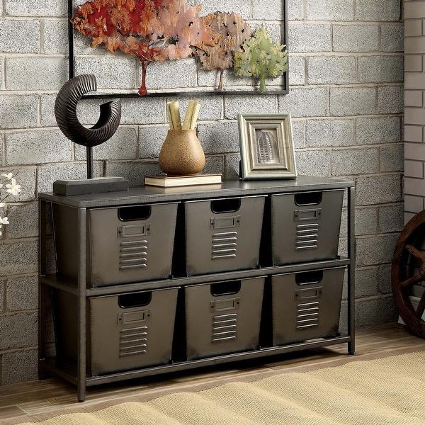 Furniture of America Copern Industrial Grey Metal 6-bin Storage Shelf. Opens flyout.