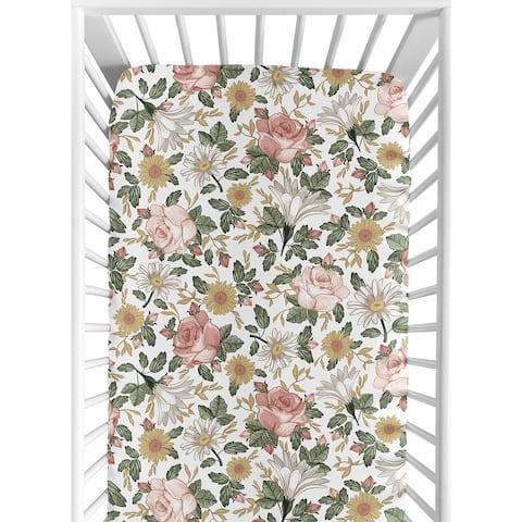 Sweet Jojo Designs Vintage Floral Boho Girl Fitted Crib Sheet - Blush Pink Yellow Green White Shabby Chic Rose Flower Farmhouse