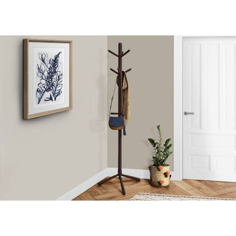 Offex Cappuccino Contemporary Solid Wood Coat Rack