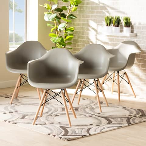 Galen Modern and Contemporary Plastic and Wood Dining Chair Set (4pc)
