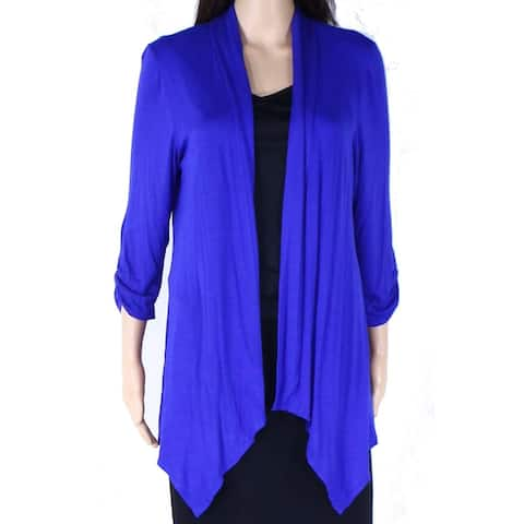 AGB Womens Sweater Blue Size Large L Cardigan Open Front 3/4 Sleeve