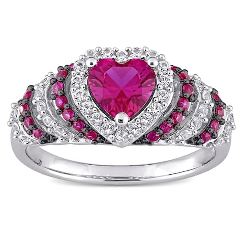 Miadora Sterling Silver Heart Created Ruby and Created White Sapphire Halo Layered Cocktail Ring