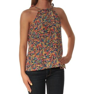 Womens Orange Blue Floral Sleeveless Crew Neck Casual Top Size 0