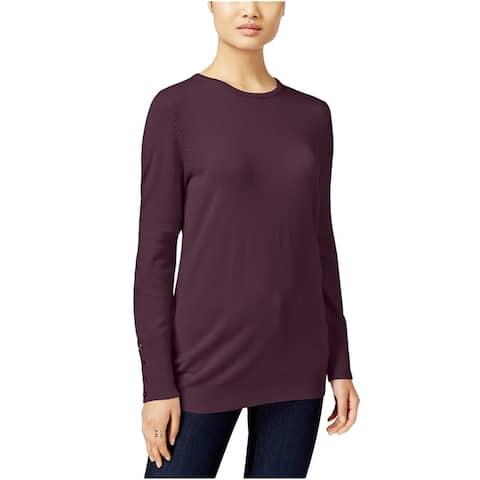 JM Collection Women's Button-Cuff Crewneck Sweater Purple Size Extra Large