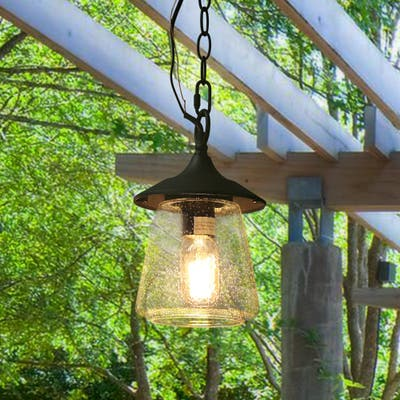 """The Gray Barn Dairy Air 1-light Outdoor Pendant Hanging Porch-light - D6.25""""xH9.4"""""""