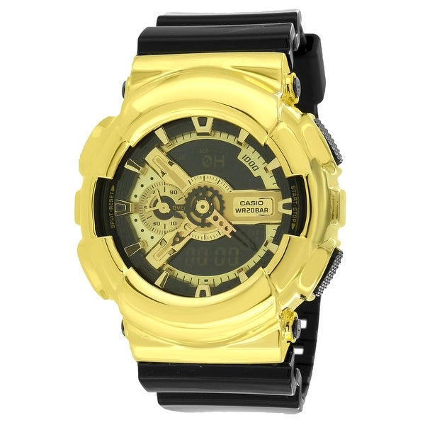 GA110GB-1A Gold Tone Unisex Watches G-Shock 200m Analog Digital Black Resin Band