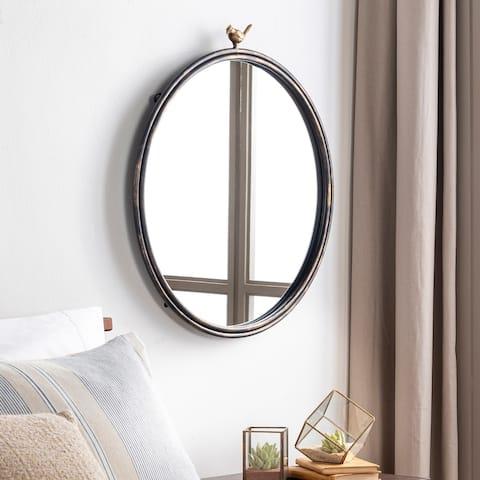 """Deora Antique Gold Bird 24-inch Round Mirror - 26""""H x 24""""W"""