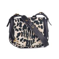 Roberto Cavalli Women's Leopard-Print Leather Canvas Shoulder Bag medium size