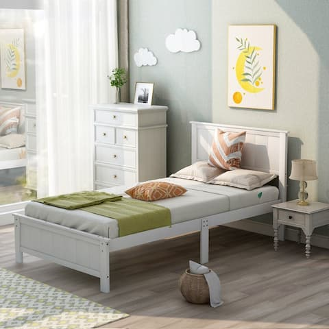 AOOLIVE Twin Size Platform Bed with Headboard and Footboard, White