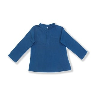 Azul Unisex Baby Slate Blue Solid Color Long Sleeve Urban Trendy Tunic