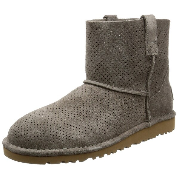 UGG Australia Womens Classic Unlined Mini Perforated Leather Closed Toe Ankle...