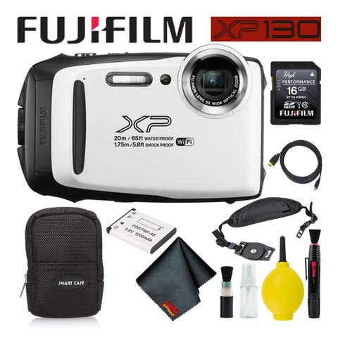 FujifilmFinePix XP130 Waterproof Digital Camera 600019827 (White) Best Value Acc - Best Value with Soft Case