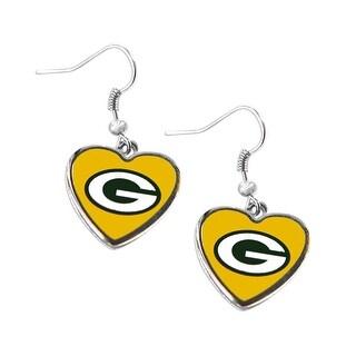 Green Bay Packers Non-Swirl Heart Shape Dangle Earring