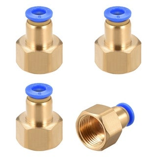 "3/8"" G Female Straight Thread 6mm Push In Joint Pneumatic Quick Fittings 4pcs - 3/8"" G x 6mm"