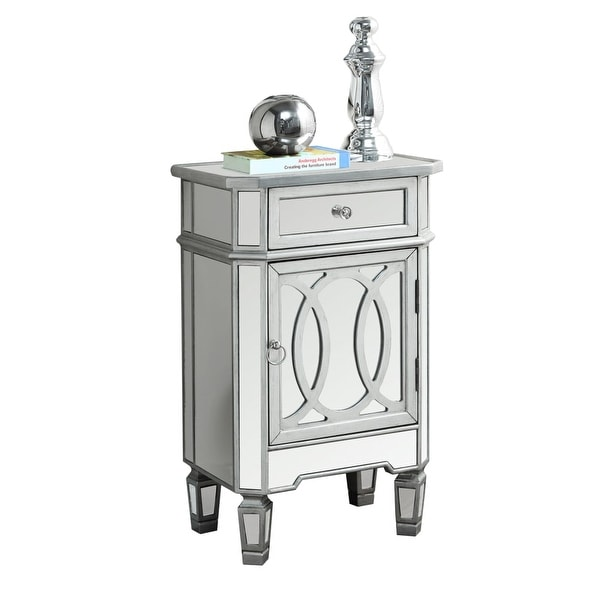 Monarch Specialties I 3707 18 Inch Wide Mirrored Accent Chest With 1 Drawer And Silver