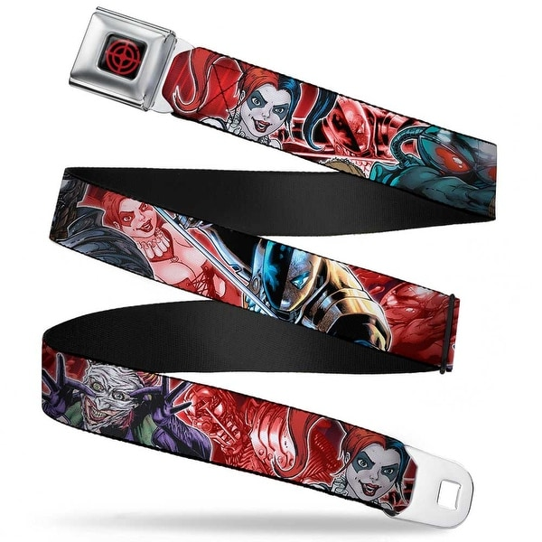 Suicide Squad Target Full Color Black Red 5 Suicide Squad Villains Group Seatbelt Belt