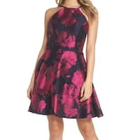 Xscape Black Magenta Womens Size 6  Fit N Flare A-Line Dress