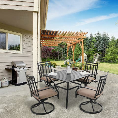 """MFSTUDIO 5-Piece Patio Dining Sets Includes 37"""" Square Metal Table with 1.57"""" Umbrella Hole and 4 Swivel Mental Chairs"""