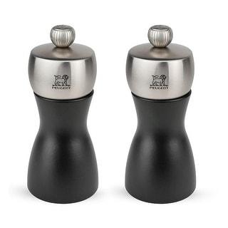 Peugeot Fidji Stainless Steel Salt and Pepper Mill Set, 12cm/4.75-Inch, Black Matte - Black Matte