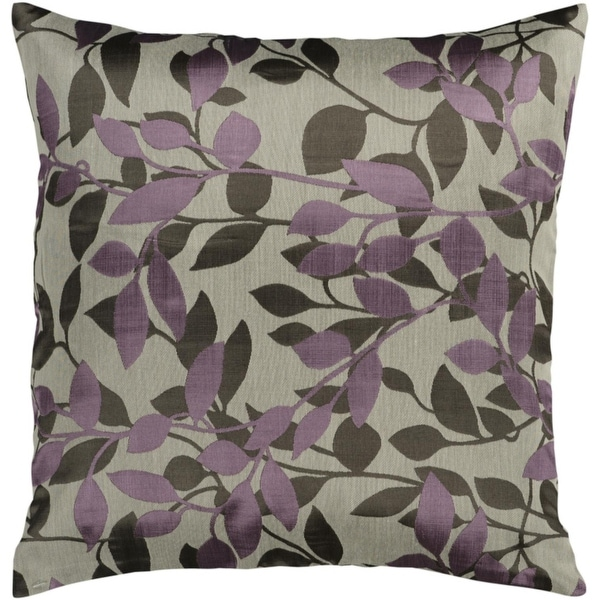 "22"" Oyster Gray and Grape Early Morning Foliage Decorative Down Throw Pillow"